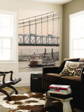 Riverboat on Ohio River and, Roebling Suspension Bridge, Cincinnati, Ohio, USA