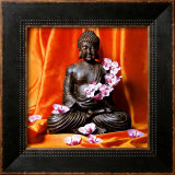 Buddha with Flowers Framed Art Print