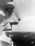 Maintenance Worker on the Nose of Mount Rushmore's Abraham Lincoln, South Dakota, 1960s