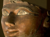 Osiris statue face of Hatshepsut in painted limestone