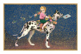 Girl Riding Harlequin Great Dane