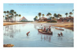 Village on Nile by Pyramids, Egypt