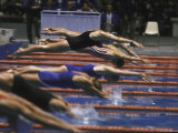 Swimmers Diving to Start a Race at Summer Olympics