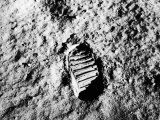 Astronaut Buzz Aldrin's Footprint in Lunar Soil During Apollo 11 Lunar Mission