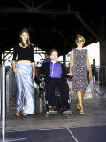 Paralyzed Actor Christopher Reeve W, Daughter Alexandra and Wife Dana on Liberty Island