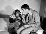 Entertainer Jerry Lewis with a Chimpanzee
