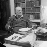 British Leader Winston Churchill Working in His Office, with Cigar in His Hand