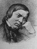 Drawing by Bendemann Dated 1859 of German Composer Robert Schumann