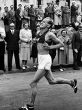 Emil Zatopek Running in Marathon at 1952 Olympics