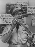 Comedian Phil Silvers Playing Cards on His Television Show