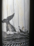 Scrimshaw Carving of a Whaling Scene in the Mid 1800S on a Sperm Whale Tooth