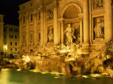 Trevi Fountain Illuminated at Night in Rome, Lazio, Italy, Europe