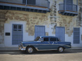 An Old Blue Chevrolet Car Parked in a Street in Old Havana, Cuba, West Indies, Caribbean