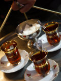 Hand Holding a Tray with Turkish Tea, Istanbul, Turkey, Europe