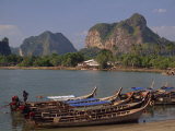 Boats Moored on the Coast at Krabi, Thailand, Southeast Asia
