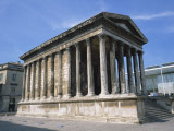 Maison Carree Temple in the Town of Nimes, in Languedoc Roussillon, France, Europe