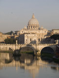 St. Peters Dome and the Tiber River, Rome, Lazio, Italy, Europe