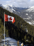 Canadian Flag at the Top of Sulphur Mountain, Banff National Park, Alberta, Canada