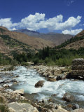 River and Mountains in the Kalash Region Near Bumburet Village in Chitral, Pakistan