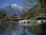 Black Dragon Pool Park with Bridge and Pagoda, Lijiang, Yunnan Province, China