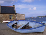 Blue Boat on Shore with the Harbour of Le Fret Behind, Brittany, France, Europe