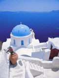 Church Overlooking Sea, Santorini, Cyclades, Greek Islands, Greece, Europe