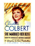 She Married Her Boss, Claudette Colbert on Midget Window Card, 1935
