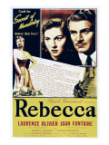 Rebecca, Joan Fontaine, Laurence Olivier on 1946 Re-Release Poster, 1940