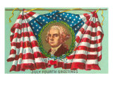 4th of July Greetings, George Washington on Flag