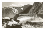Buy Man Riding Giant Fish at AllPosters.com