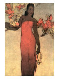 Hawaiian Woman with Fruit and Flowers