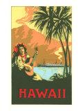 Hawaii, Volcano, Cruise Ship, Woman with Guitar