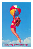 Happy Birthday, Girl Leaping with Beach Ball