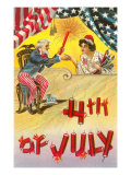 4th of July, Uncle Sam Shaking Hands with Rocket Lady