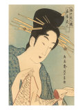 Japanese Woodblock, Lady with Scroll