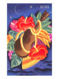 Graphic of Ukulele and Tropical Flowers, Aloha