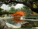 Bright orange Zi Wu Bridge, Nan Lian Garden, Hong Kong, China