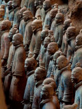Ancient Soldier Statues Stand at Front of Terracotta Army