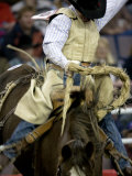 Rodeo Rider Clings to a Bucking Horse