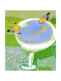 Gold Finches at Birdbath