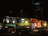 Buildings Lit Up at Night, Honky Tonk Row, Nashville, Davidson County, Tennessee, USA