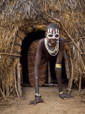 Young Karo Girl in the Doorway of Her Hut in the Village of Duss, Omo River, Southwestern Ethiopia