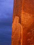 Khentii Province, Sunrise on a Carved Obelisk Dedicated to Genghis Khan, Mongolia