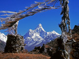Amma Dablam, Framed by Prayer Flags, One of Most Distinctive Mountains Lining Khumbu Valley, Nepal