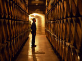 Foreman of Works Inspects Barrels of Rioja Wine in the Underground Cellars at Muga Winery