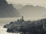 Veneto, Lake District, Lake Garda, Malcesine, Aerial Town View, Italy