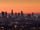 California, Los Angeles, Downtown from Hollywood Bowl Overlook, Dawn, USA