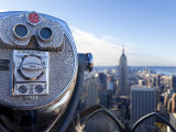 New York City, Coin Operated Binoculars and Empire State Building from Rockerfeller Centre