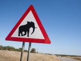 Elephant Road Sign, Damaraland, Kunene Region, Namibia, Africa