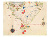 Map of South America and the Magellan Straits, from an Atlas, 1571